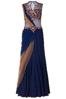 Navy Blue Ombre Embroidered Drape Saree by Mandira Wirk