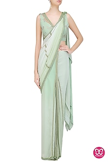 Pastel Green Mukaish Embroidered Saree with Blouse by Mandira Wirk