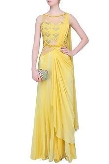 Yellow Mukaish Embroidered Drape Saree by Mandira Wirk