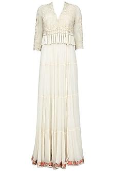 Ivory Nouveau Tassel Jacket with Multi Tiered Dress by Mandira Wirk