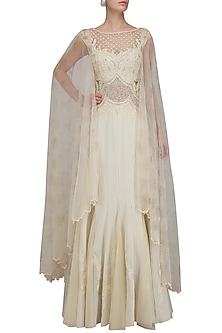 Ivory Beaded Nouveau Dress with Attached Back Net Cape by Mandira Wirk