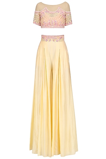 Pastel Yellow Geometric Flora Crop Top with Flared Pants by Mandira Wirk