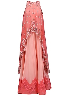 Pink and Coral Flora Cascade Anarkali Dress by Mandira Wirk