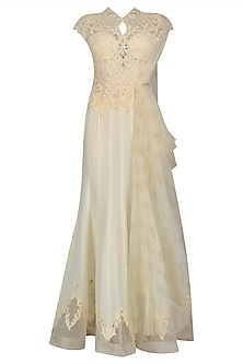 Ivory Nouveau Embroidered Draped Saree Gown by Mandira Wirk