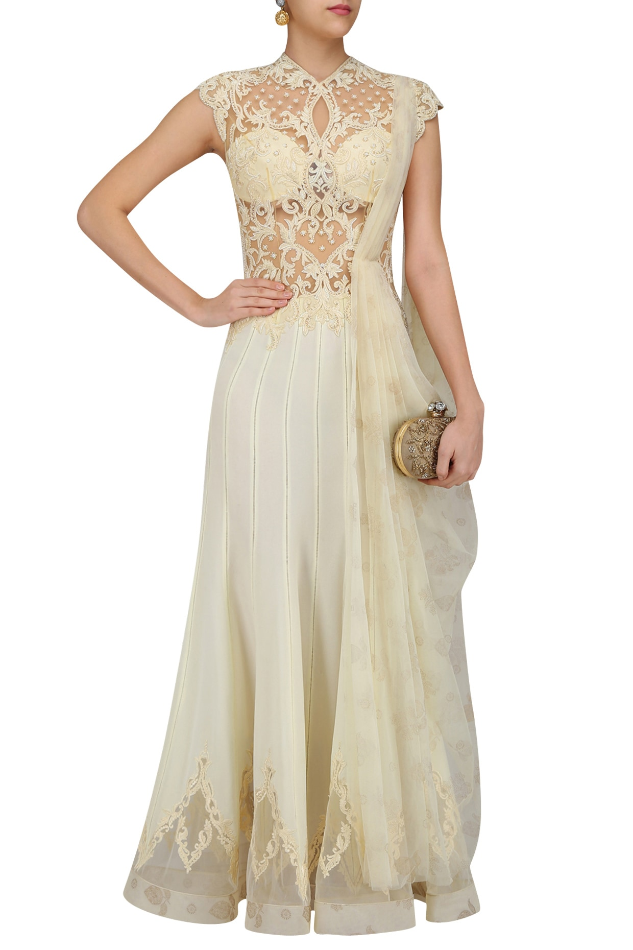 Ivory Nouveau Embroidered Draped Saree Gown Available Only At Pernia S Pop Up Shop