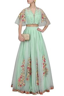 Aqua Green Flora Work Multi Net Drape Blouse with Pleated Long Skirt by Mandira Wirk