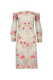 Ivory Flora Off Shoulder Short Dress by Mandira Wirk