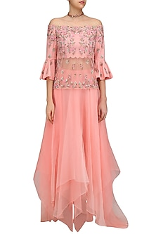Coral Flora Esparenza Top with Organza Flared Skirt by Mandira Wirk