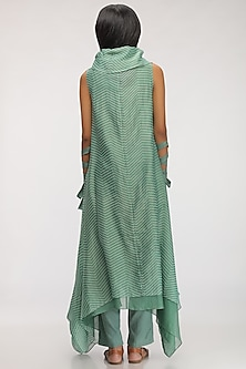 Leaf Green Embroidered Cowl Kurta Dress by Myoho
