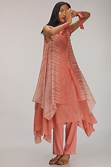 Peach Layered Kurta Dress With Embroidery by Myoho