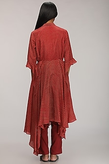 Red Printed & Embroidered Kurta by Myoho