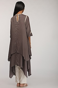 Grey Embroidered Layered Kurta by Myoho