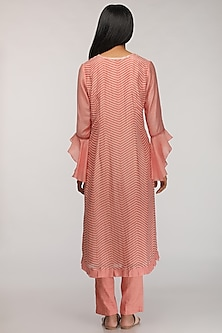 Peach Embroidered & Pintuck Kurta by Myoho
