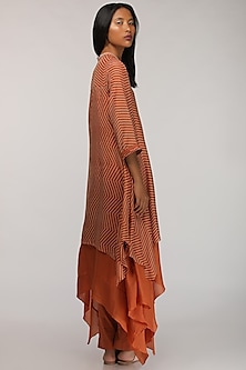 Rust Orange Printed Layered Kurta by Myoho
