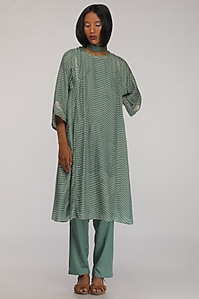 Leaf Green Badla Embroidered Kurta by Myoho
