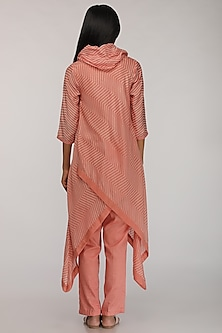 Peach Embroidered & Printed Cowl Kurta by Myoho