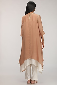 Beige Embroidered Layered Kurta by Myoho