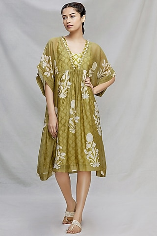Mehendi Green Embroidered Kaftan With Slip by Myoho