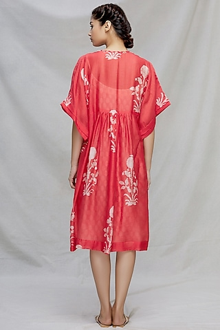 Red Embroidered Kaftan With Slip by Myoho