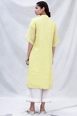 Yellow Embroidered Kurta Set by Myoho