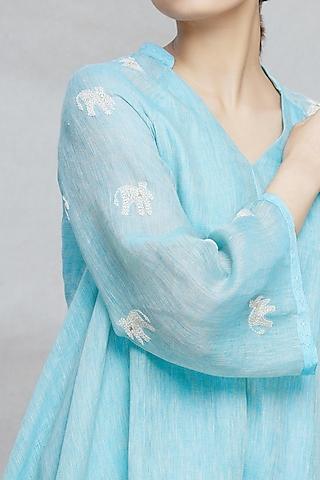 Aqua Blue Hand Embroidered Kurta Set by Myoho