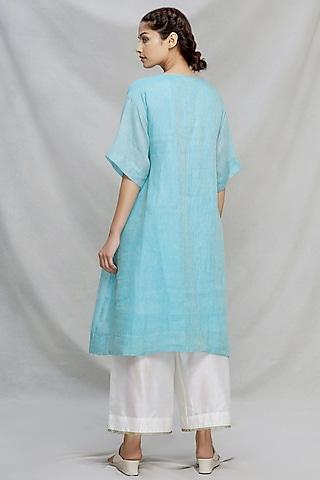 Aqua Blue Kantha Embroidered Kurta Set by Myoho