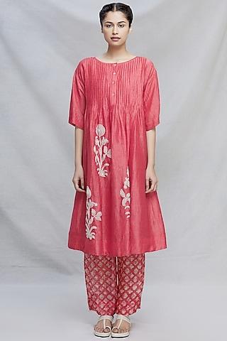 Red Kantha Hand Embroidered Kurta Set by Myoho