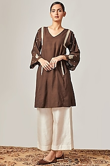 Brown Embroidered Matka Kurta With Off White Flared Pants by Myoho