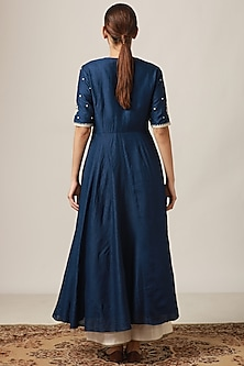 Midnight Blue Embroidered Pleated Kurta With Flared Pants by Myoho