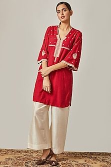 Ruby Red Embroidered Kurta With Off White Flared Pants by Myoho