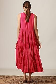 Fuchsia Embroidered Tiered Kurta Dress by Myoho