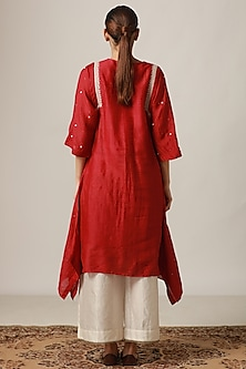 Red Embroidered Kurta With Off White Flared Pants by Myoho