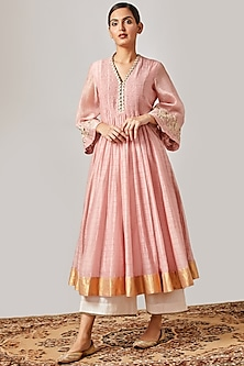 Rose Pink Embroidered Kurta With Off White Flared Pants by Myoho