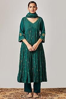 Emerald Green Embroidered & Printed Kurta Set by Myoho
