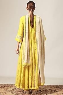 Lime Yellow Pintucked & Embroidered Kurta Set by Myoho