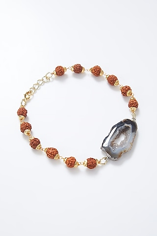 Gold Plated Handcrafted Rakhi In Sterling Silver by Myriad Jewels