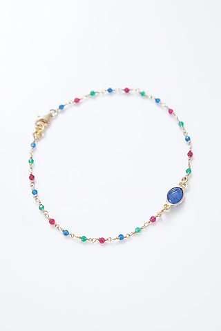 Gold Plated Handcrafted Sapphire Rakhi  by Myriad Jewels