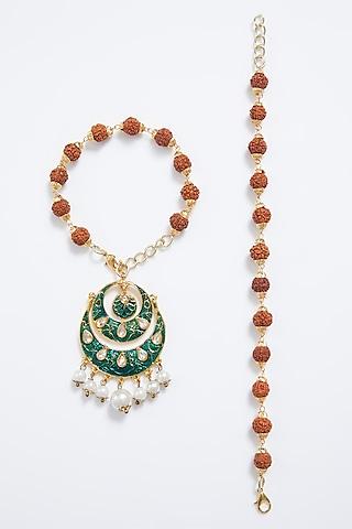 Gold Finish Rudraksha Rakhi With Lumba by Myriad Jewels
