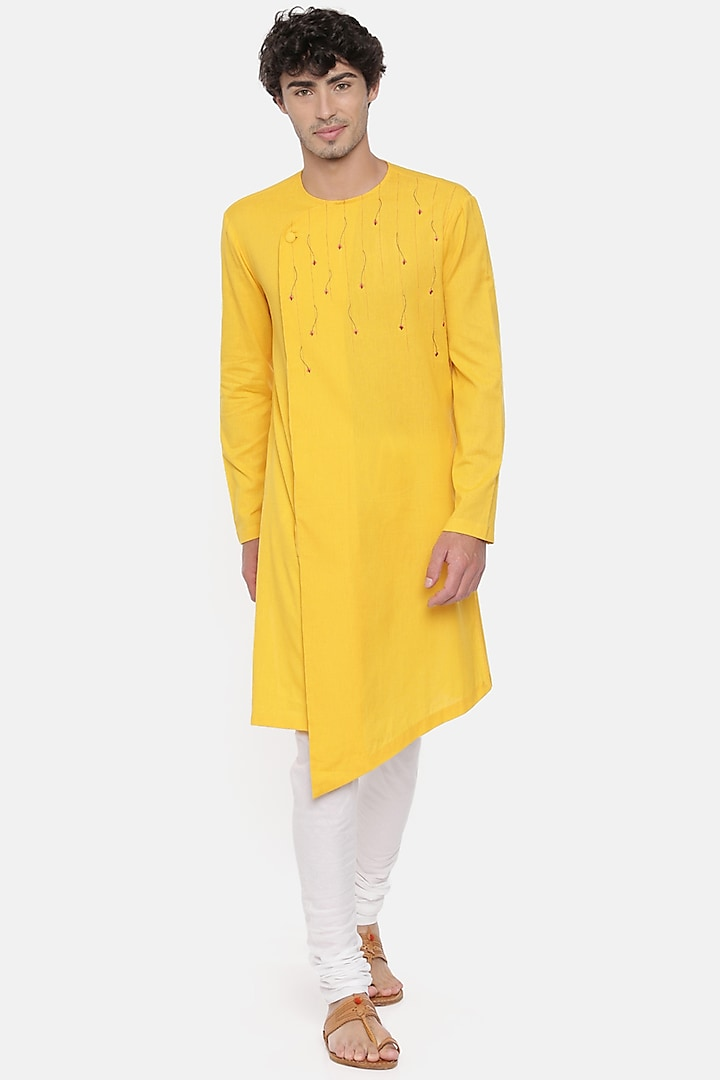 Yellow & White Embroidered Kurta Set by Mayank Modi