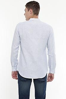 White & Blue Embroidered Striped Shirt by Mayank Modi