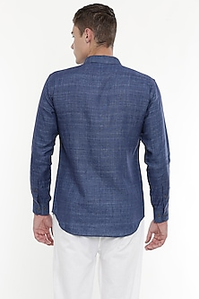 Cobalt Blue Shirt With Curved Hem by Mayank Modi
