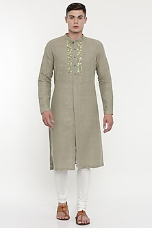 Beige Green Shaded & Embroidered Kurta Set by Mayank Modi