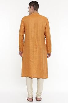 Orange Pintuck Kurta Set by Mayank Modi