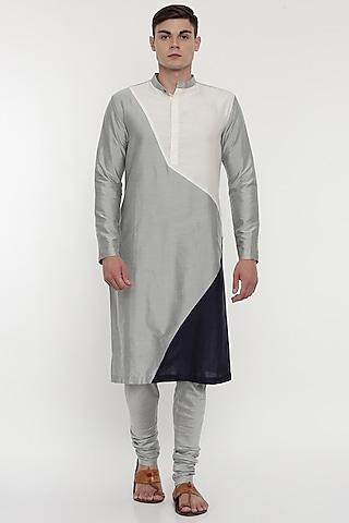 Silver Kurta Set With Geometric Patterns by Mayank Modi