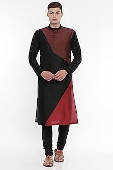 Black Kurta Set With Geometric Patterns by Mayank Modi