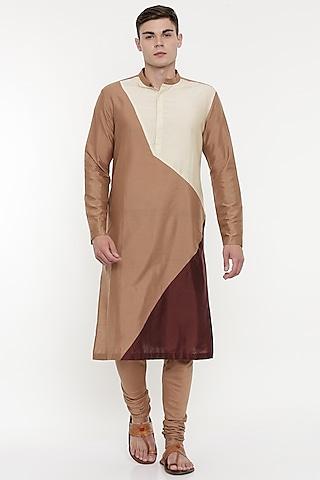 Brown Kurta Set With Geometric Patterns by Mayank Modi