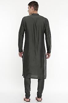 Grey Kurta Set With Geometric Patterns by Mayank Modi