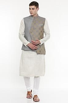 Grey & Gold Embroidered Modi Jacket by Mayank Modi