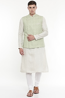Pastel Green Printed Modi Jacket by Mayank Modi