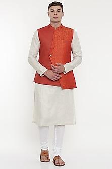 Orange Asymmetric Modi Jacket by Mayank Modi